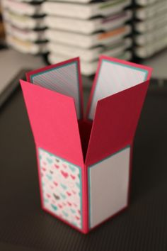 Card in a Box with video tutorial and written instructions. Made with Bear Hugs stamp set and Have a Cuppa designer paper. Card Making Tutorials, Card Making Techniques, Cricut Cards, Stampin Up Cards, Box Cards Tutorial, Exploding Box Card, Pop Up Box Cards, Fun Fold Cards, Folded Cards