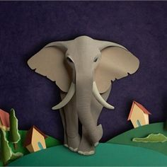 Paper cut elephant illustration by Gail Armstrong
