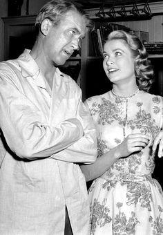 """Jimmy Stewart and Grace Kelly on the set of """"Rear Window"""""""