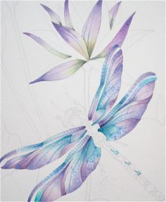 Dragonflies, frogs, flowers watercolours …How to Paint Them .............Art Class By Jody Bergsma