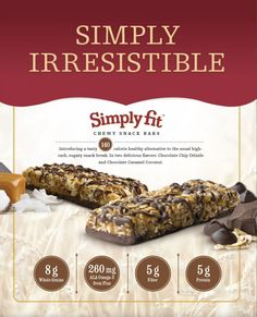 Simply Fit Chewy Snack bars by Melaleuca aren't just great-tasting snack bars. They're a whole grain pick-me-up. A fiber fill-up. A protein recharge. An omega-3 boost. They're a low sodium, naturally delicious, better-for-you bar that turns snack time into satisfaction time. The bars come in two delicious flavors: Chocolate Chip Drizzle and Chocolate Caramel Coconut. Yum!!