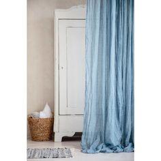 Sheer linen curtain in azure | hardtofind.