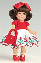 Image Search Results for vogue ginny dolls  Ginny is dressed in Christmas dress with a red bow in her hair.