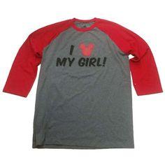 Disney MEN'S Shirt - Mickey Icon Raglan Top - I Love My Girl