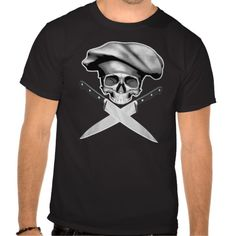Chef Half Skull Knives Black and white half skull wearing traditional, puffy style chef hat. Crossed chef knives as crossbones.