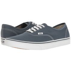 Vans Authentic ((Canvas) Dark Slate/True White) Skate Shoes ($50) ❤ liked on Polyvore featuring shoes, sneakers, skate shoes, white sneakers, white canvas shoes, white canvas sneakers and white trainers