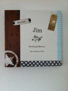 Geboorteschilderij voor Jim gemaakt door Petra's Verferijtjes