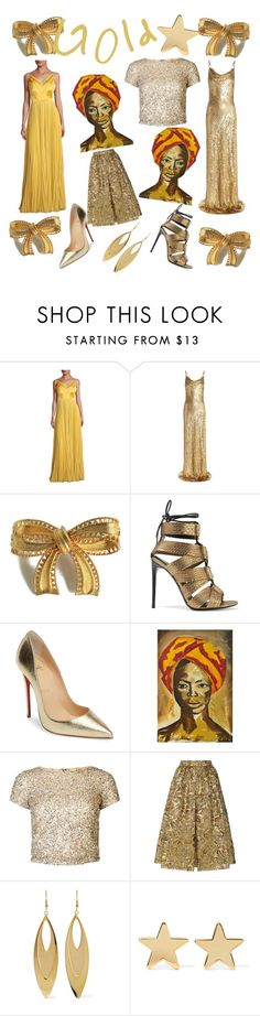"""""""Gold meets Poly"""" by polypom-pom ❤ liked on Polyvore featuring Kay Unger New York, Michael Kors, Tom Ford, Christian Louboutin, NOVICA, Alice + Olivia, Prada, Kenneth Jay Lane and Jennifer Meyer Jewelry"""