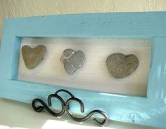 AAHH my collection needs to have a home. (heart shaped rocks in frame) = <3