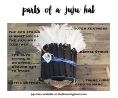 FAQ on Juju Hats. These are the parts of a juju. Available now at thebloomingloom.com