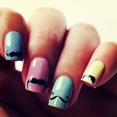 Colorful nails each with a different type of mustache design