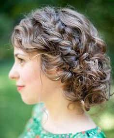 Medium Curly Updo Hairstyle With A Braid And Messy Tendrils