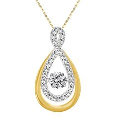 18K Gold Finish Rhythm of D/VVS1 Dancing Lab Diamond Infinity Pendant With Chain #AffinityJewelry #DancingDiamond
