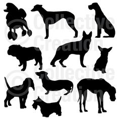 Dog Silhouettes Clip Art Clipart Set - Personal and Commercial Use