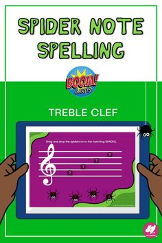 Students will love this Boom Deck for distance learning and centers. Spider Spelling is a fun activity that you can assign through Google Classroom for practicing treble clef note names on the staff! This October-themed set can also be useful for assessments with first-year band and orchestra, elementary classes, and choir. Boom Cards are perfect for centers and distance learning because they can be played on any device with a web browser. No student log-ins required! Music Games, Fun Music, Music Class, Music Mix, Music Lessons For Kids, Music Lesson Plans, Teaching Orchestra, Teaching Music, Elementary Music