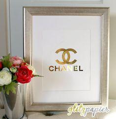 COCO Chanel CC Paris Designer Foil Print Art Monogram Sign Elegant Chic Gold / Silver Elegant Quote Pretty Girl Sparkle Home Decor Bling 24K