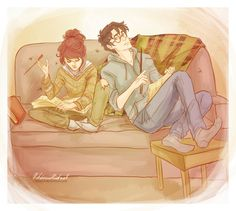 harry and hermione...not bad. Seems like theyre chilling in the common room. Nice and appropriate :)