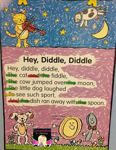Nursery Rhyme Charts- Charts and the Tools to teach many reading skills with nursery rhymes Kindergarten Language Arts, Kindergarten Literacy, Early Literacy, Literacy Centers, Rhyming Activities, Preschool Curriculum, Homeschooling, Reading Workshop, Reading Skills