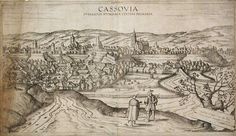 """Cassovia superioris Hungariae civitas primaria, G. Hoefnagel (1617) Publisher : Braun, G./Hogenberg, F.  Latin description on verso, by Braun : """"Kosice is a large and well-fortified city in the Kingdom of Hungary. Situated on the borders to Transylvania on the Hernad, the city is in a good position both for protecting the country and for craft trades and commerce. It is one of the most important strongholds in the whole kingdom and capable of soundly defeating even the most powerful enemy."""""""