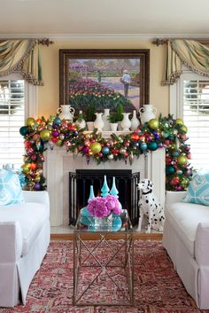 House of Turquoise: Search results for tobi fairley Christmas Fireplace, Christmas Mantels, Noel Christmas, Christmas Crafts, Christmas Ornaments, Fireplace Mantel, Christmas Balls, Christmas Lights, Fireplace Garland