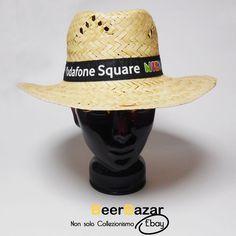 € 5,99 Cappello paglia + nastro Vodafone Square Night nero spiaggia estivo unisex M 56