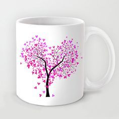 Personalized mug cup designed PinkMugNY- Heart tree