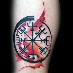 Watercolor Viking Compass Tattoo For Men On Forearm