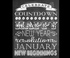 January New Year Chalkboard Subway Art Printable.