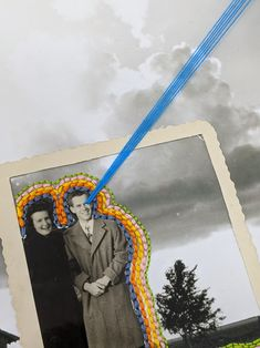 """Off the Blue Line"" by Jackie Mantey // Base image info: Dorothea Lange, 1937, ""West Texas family farm. On edge of the Dust Bowl."" Embroidery floss, photo paper, found photo, collage."
