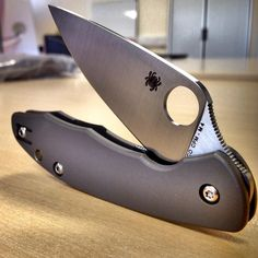 The Spyderco Mantra Folding knife in Titanium