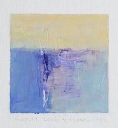 Sep. 11, 2016 - oorspronkelijke Abstract olieverfschilderij - 9 x 9 schilderen (9 x 9 cm - app. 4 x 4 inch) met 8 x 10 inch mat