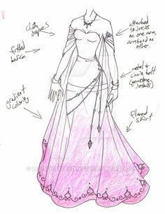 MHcd - Aurora by on DeviantArt : MHcd - Aurora by Clothing Sketches, Dress Sketches, Drawing Sketches, Dress Drawing, Drawing Clothes, Fashion Design Drawings, Fashion Sketches, Fantasy Dress, Character Outfits