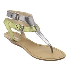 """Thong sandal with double buckle closure.  Sliver 1"""" wedge."""