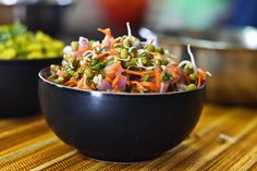 Moong Sprouts Salad with Grated Carrots and Coriander