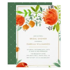 Watercolor Flowers | Spring Bridal Shower Card - invitations personalize custom special event invitation idea style party card cards