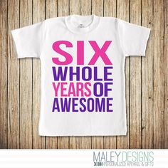 6th Birthday Shirt Girl 6 Year Old Girl Birthday by MaleyDesigns