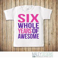 6th Birthday Shirt Girl 6 Year Old Girl Birthday by MaleyDesigns
