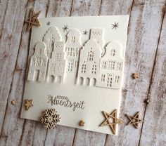 """Die deutsche Häuserzeile !  Ganz neu im Shop und hier einige schöne Anwendungsbeispiele für Euch ! Passend dazu das Stempelset """"Weihnacht..."""