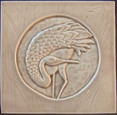6x6  relief carved single color crane tile
