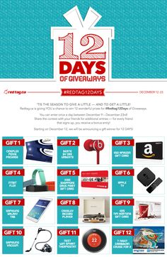 Enter the Redtag.ca 12 Days of Giveaways Check out the #Redtag12Days of Giveaways  http://12daysofgiveaways.hscampaigns.com