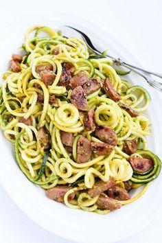Pesto Zucchini Noodles Recipe with Chicken Sausage | Cookin Canuck | Bloglovin'