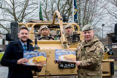 Malcolm Allan butchers gifting steak pies and lorne sausages to Royal Scots Dragoon Guards in Leuchars. They will be flown out to Cyprus to make a contribution to the Regiment's Christmas celebrations.
