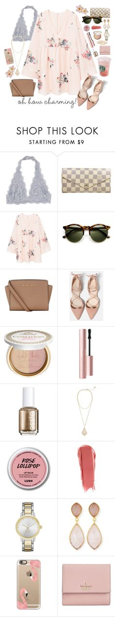 """""""{ charming }"""" by callingmybluff ❤ liked on Polyvore featuring Louis Vuitton, MANGO, MICHAEL Michael Kors, Too Faced Cosmetics, Essie, Kendra Scott, NARS Cosmetics, Kate Spade, Dina Mackney and Casetify"""