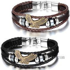 Bronze Eagle Men Women Charm Leather Wrap Wristband Cuf Buckle Bracelet Bangle #Unbranded #Surfer