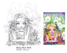 Dandelion Fairy Kingdom Instant Download Digital Stamp / by gjzcck