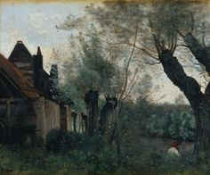 JEAN-BAPTISTE-CAMILLE COROT, WILLOWS AND FARMHOUSE AT SAINTE-CATHERINE-LÈS-ARRAS, 1871