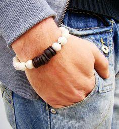 Men's Tribal Bracelet -Beaded Stretch Boho Bracelet -White Howlite, Coconut Bracelet -Men's Jewelry - Unisex Bracelet, FREE SHIPPING