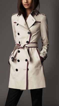 Mid-Length Technical Cotton Contrast Piping Trench Coat | Burberry