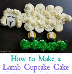 This cute lamb cupcake cake is perfect for spring and would be fun on your Easter table as well. When it's time to eat, everyone just pulls off a cupcake to enjoy! Lamb Cupcakes, Fun Cupcakes, Birthday Cupcakes, Cupcake Cakes, Easter Dinner Recipes, Easter Brunch, Holiday Recipes, Lamb Cake, Cute Lamb