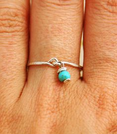Silver sterling Turquoise ring silver stackable rings by AAprill, $25.00